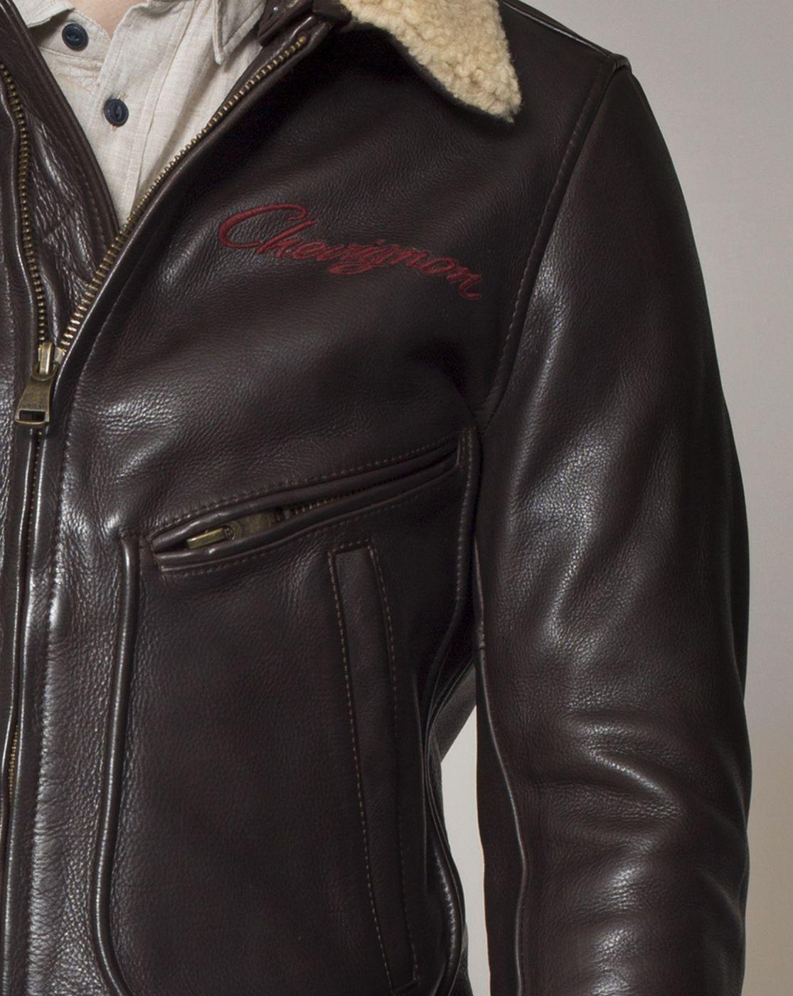 57ec6a8e39a Blouson motard cuir homme Chevignon x Helstons marron MAC automne hiver 2014