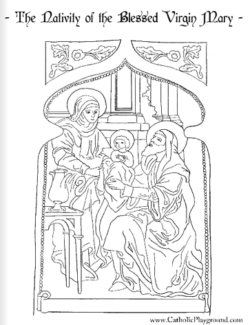 Nativity Or Birth Of The Blessed Virgin Mary With St Ann And St St Coloring Pages Religious