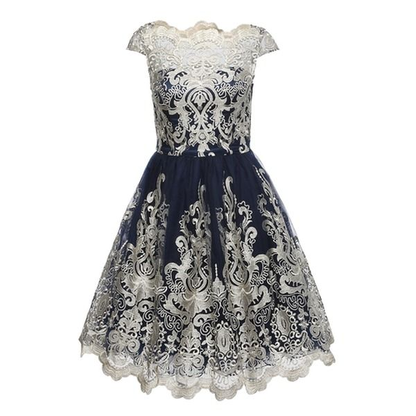 Chi Chi London Kleid Mit Tull Chi Chi Yazzy Blau Gold Chichilondon Aboutyou Kleider Chi Chi London Kleid Modestil