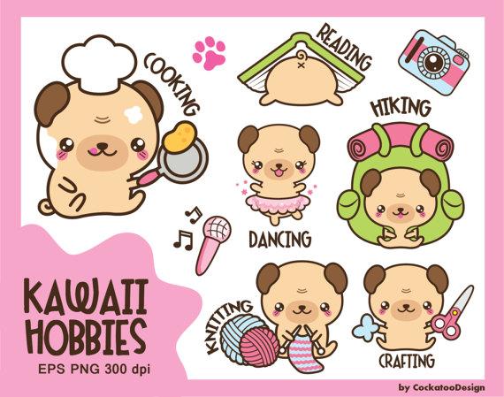 Kawaii Clip Art Kawaii Pug Clip Art Kawaii Clipart Hobby Etsy Kawaii Clip Art Cute Drawings