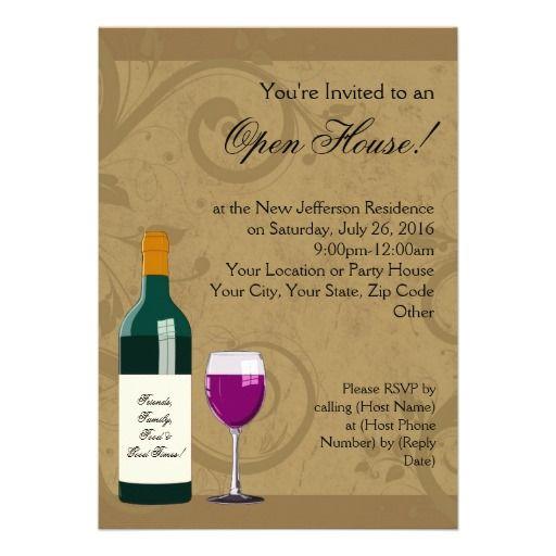 open house invitations  wine theme invitation