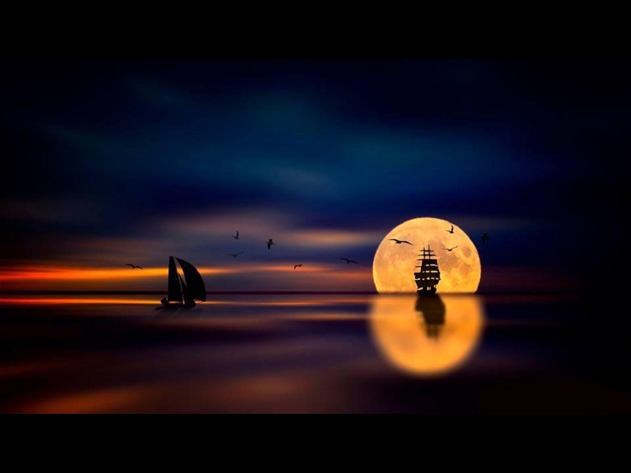 Barcos y luna