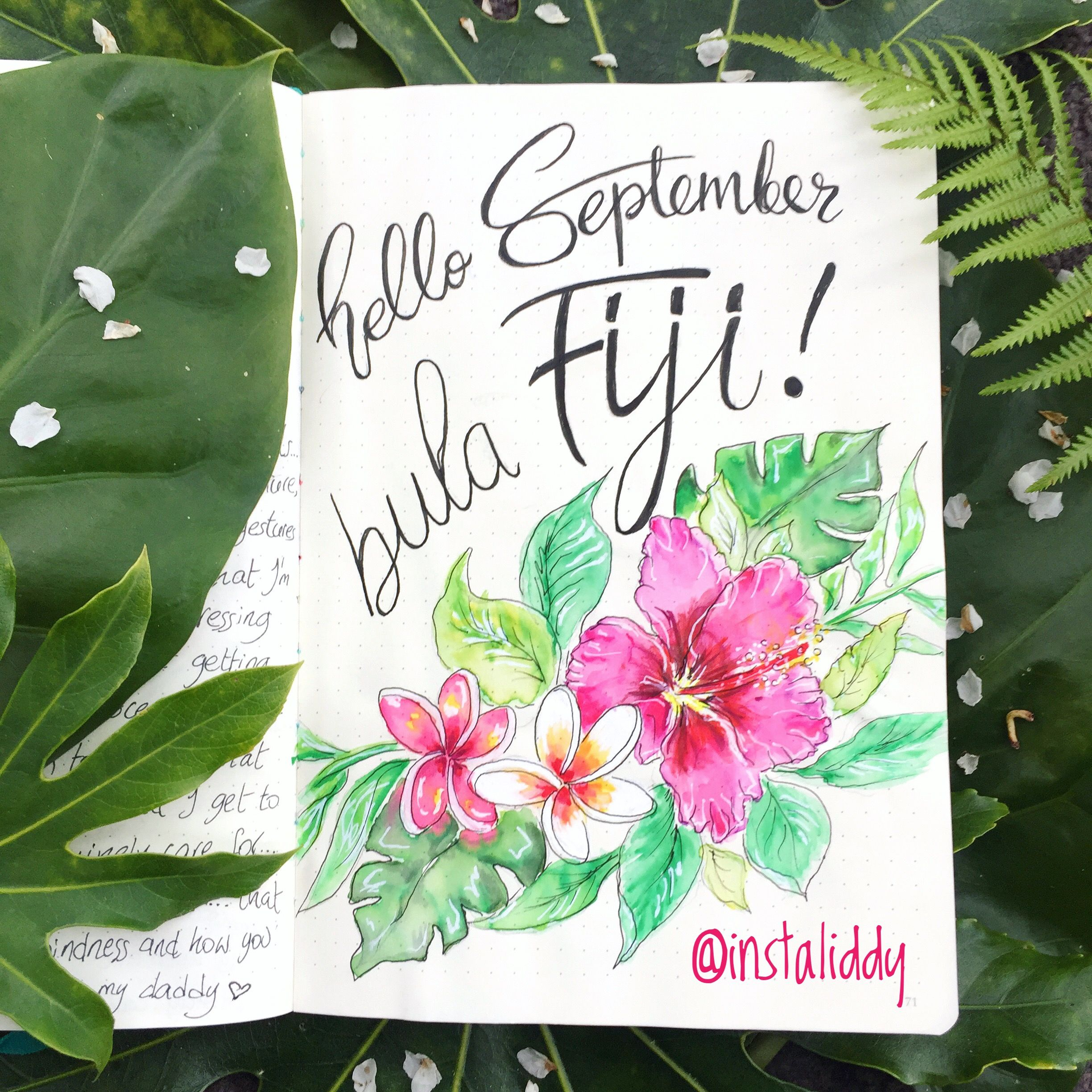 Hello September title page for my bullet journal, tropical theme