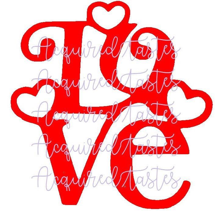 Download Love SVG with hearts Digital download Valentine's Day ...