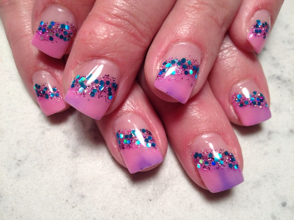 Pink blue sparkle colors changing
