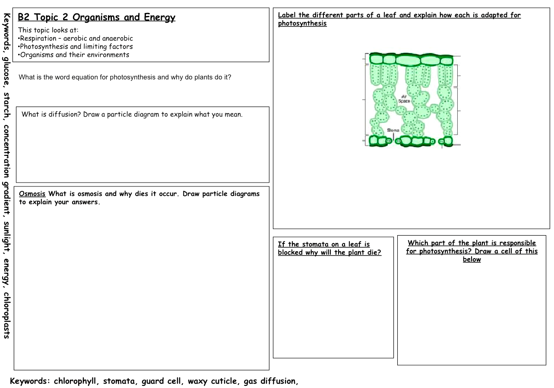 aqa science b1a 1.1 homework sheet answers