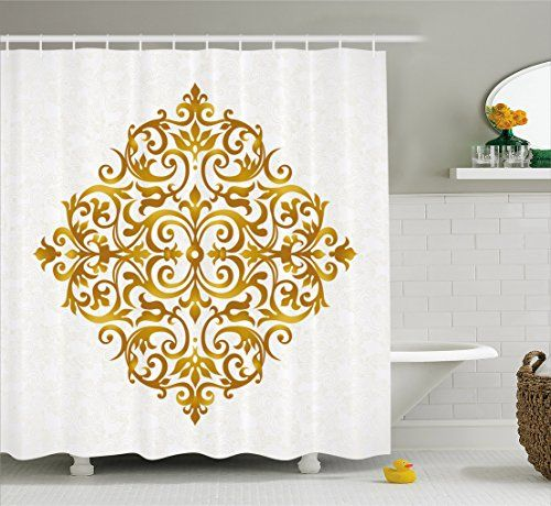 Gold Mandala Shower Curtain By Ambesonne Victorian Style