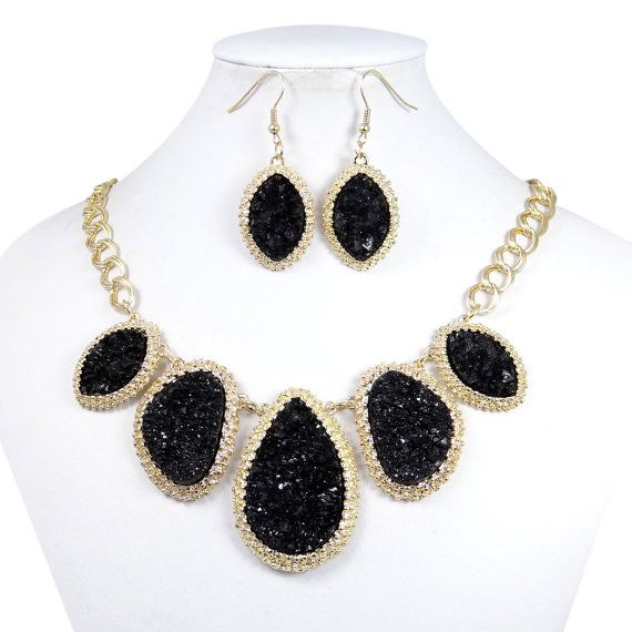 Natural Black Druzy Necklace Earring Set, Bib Statement Necklace, Pierced Hook Earring, Bridesmaid Gift, Party Jewelry Set-154316462