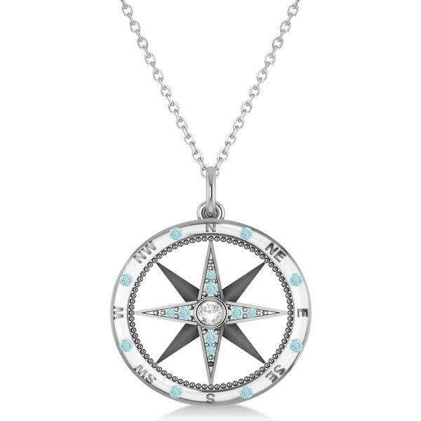 Allurez Compass Pendant Aquamarine Diamond Accented 14k White Gold