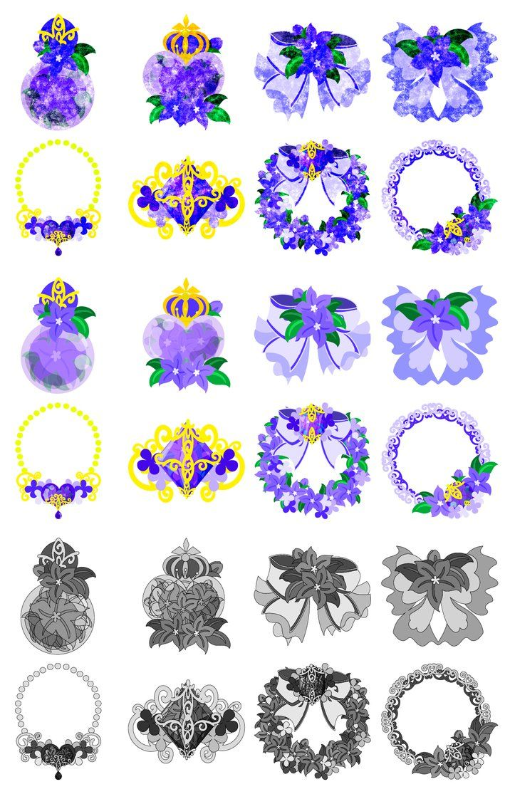 フリーのイラスト素材「紫の花の可愛いアイコン / Cute Icons of purple... イラスト、紫花