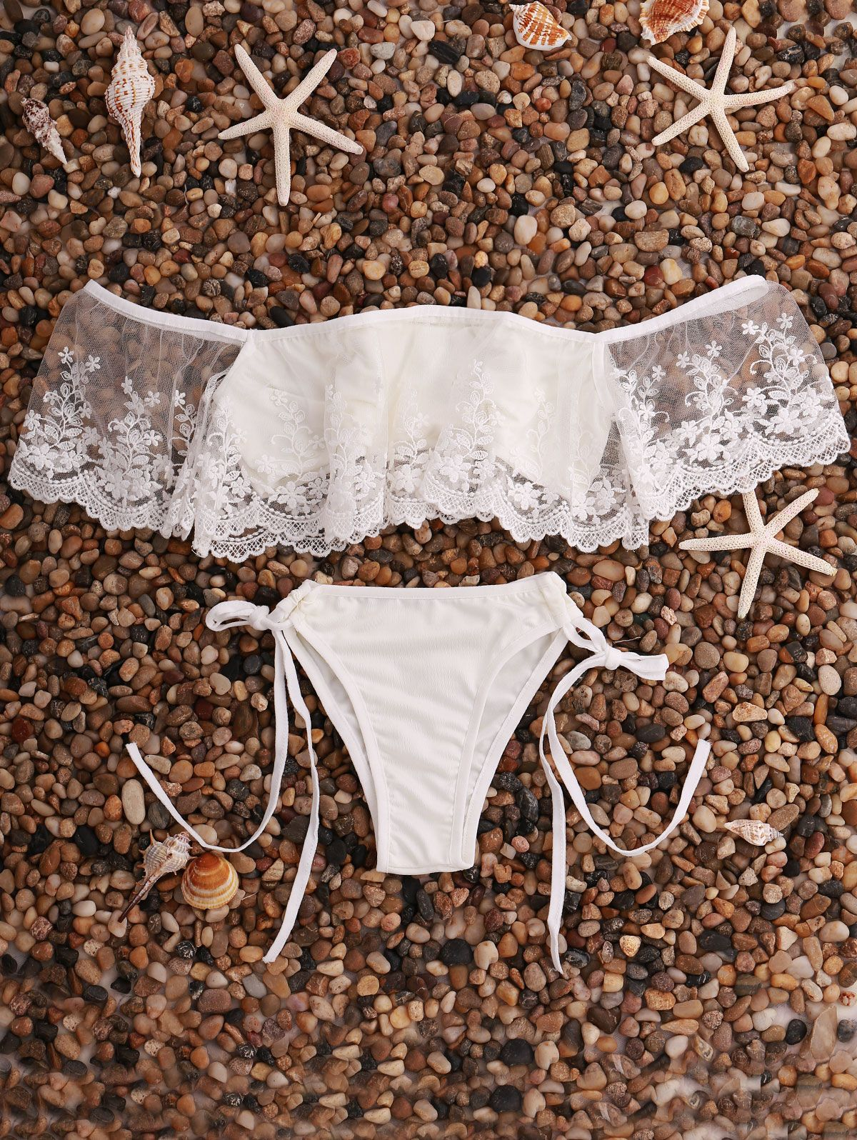 Lace Splice Off The Shoulder Bikini Set  Summer Fashion  Pinterest