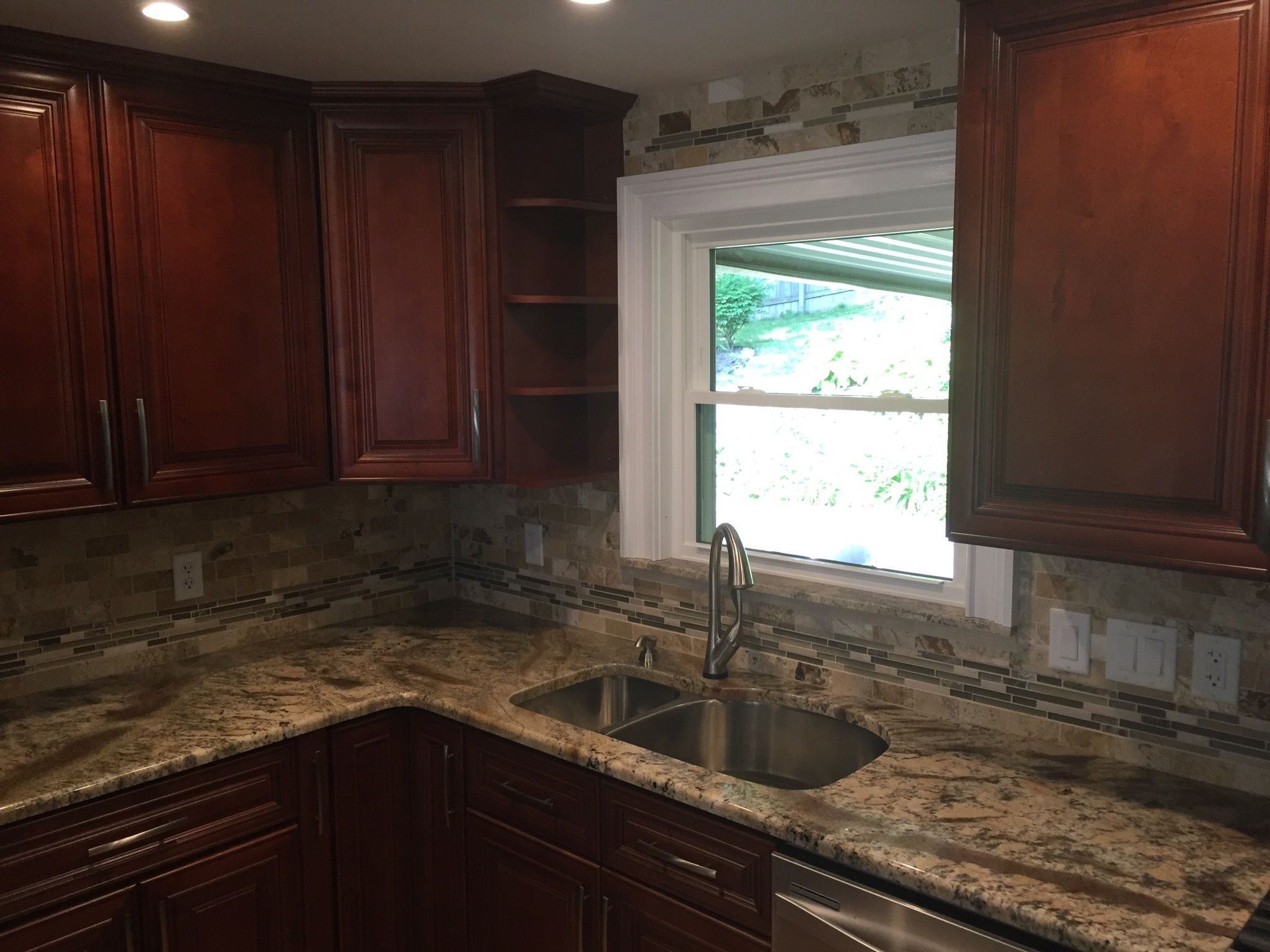 Charleston cherry kitchen cabinets remodel by lily ann cabinets