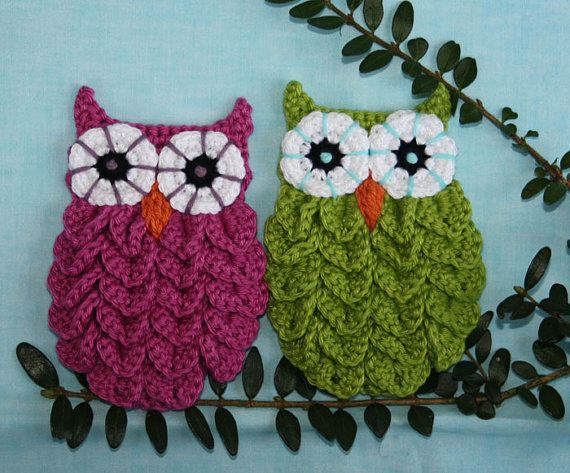 Owl in Crocodile Stitch - Crochet Pattern (Applique) | Machen selber ...