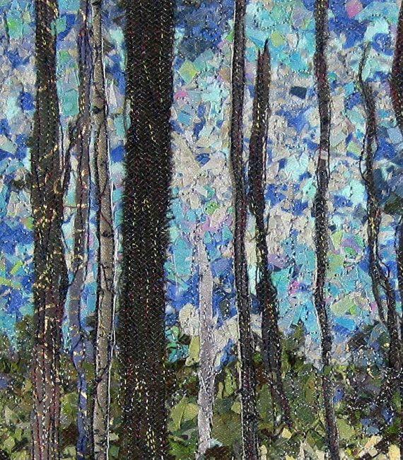 Fiber Art Quilt Woodland Trail Confetti Wall by SallyManke