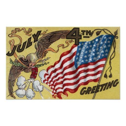Eagle Emblem Holding Fireworks, Flag Poster