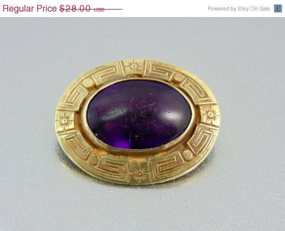 20% OFF - HUGE SALE Antique Greek Key Poured Royal Purple Glass Brooch. Engraved. Antique Jewelry(Sale) on Etsy, $15.00