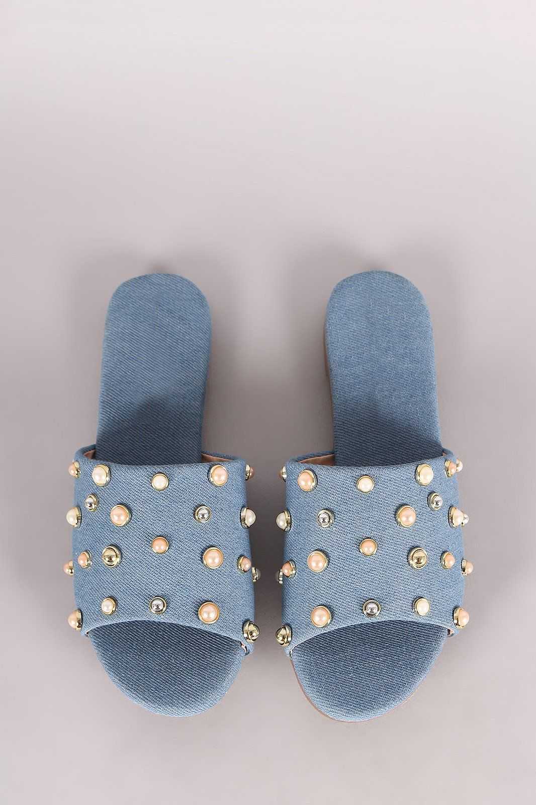 Denim Pearl Embellished Band Open Toe Slip-On Flat Sandal