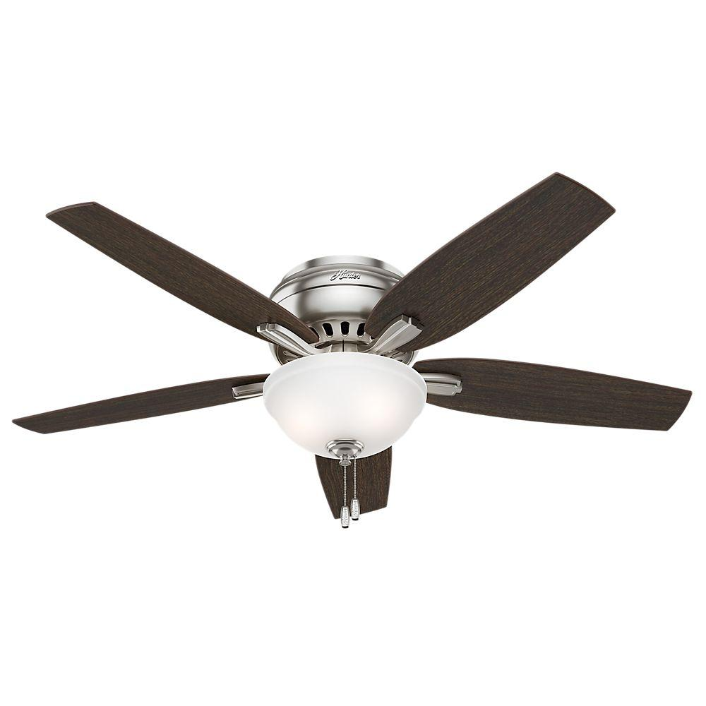 Hunter Newsome 52 In Indoor Brushed Nickel Bowl Light Kit Low Profile Ceiling Fan 53315 The Home Depot Ceiling Fan With Light Flush Mount Ceiling Fan Brushed Nickel Ceiling Fan