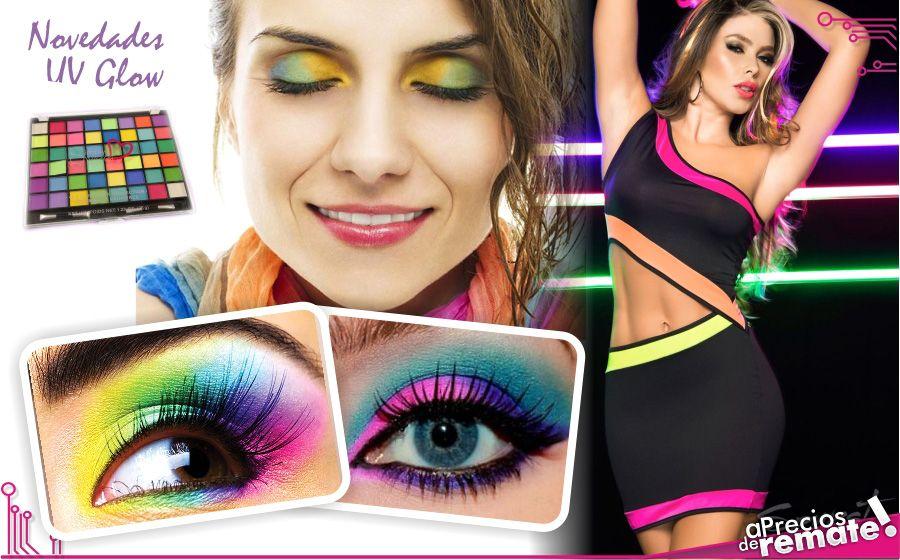 Paleta Profesional de 48 sombras Profesionales Maquillaje UV Glow Neón perfecto para toda ocasión