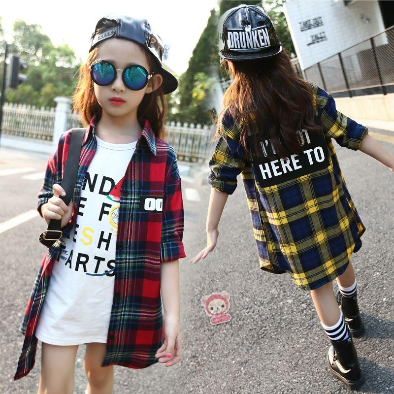 85626a7ee89de 4 5 6 8 9 10 11 12 13 Years Girls Plaid Shirt Long Sleeve Autumn ...