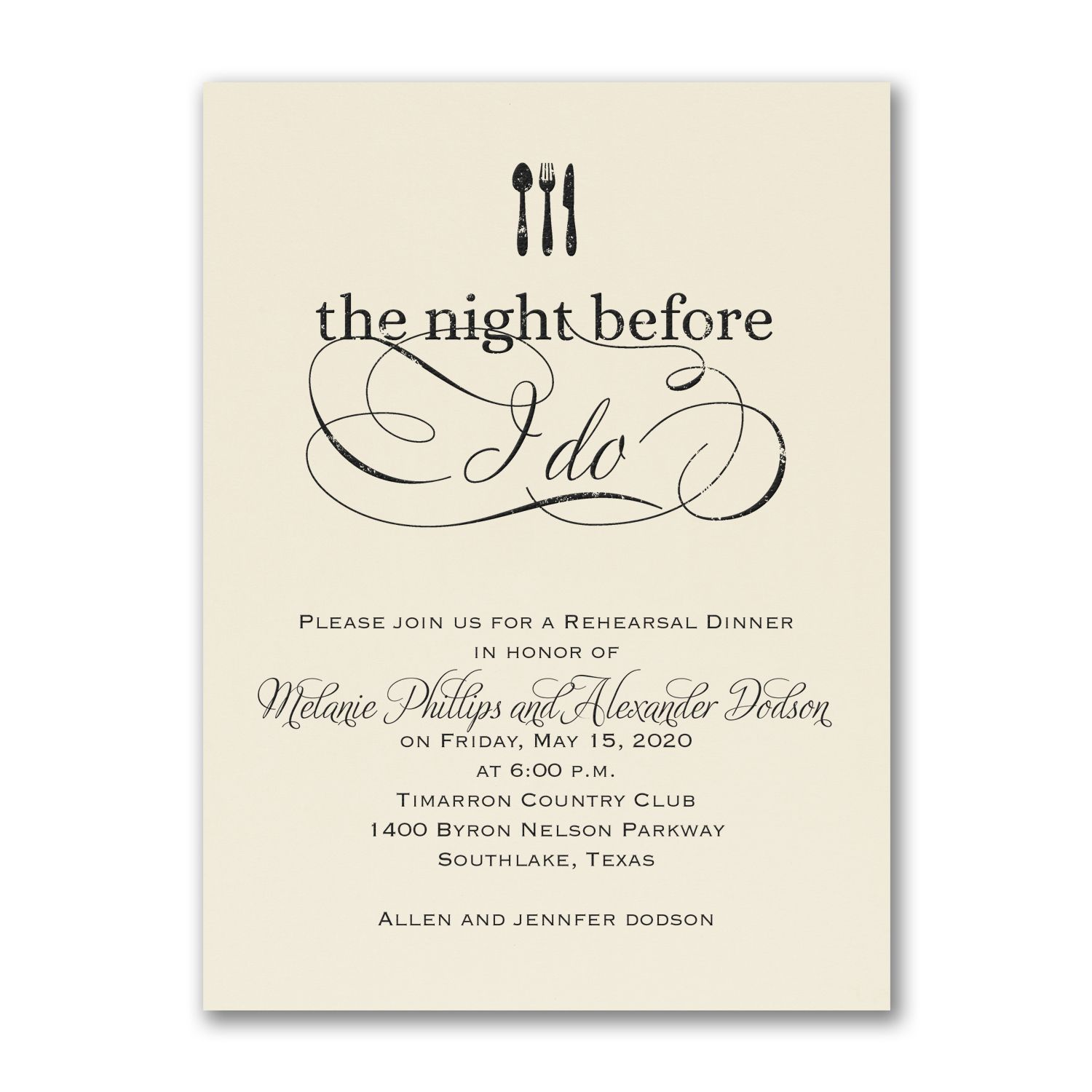 The Night Before I Do Rehearsal Dinner Invitations choose color ...