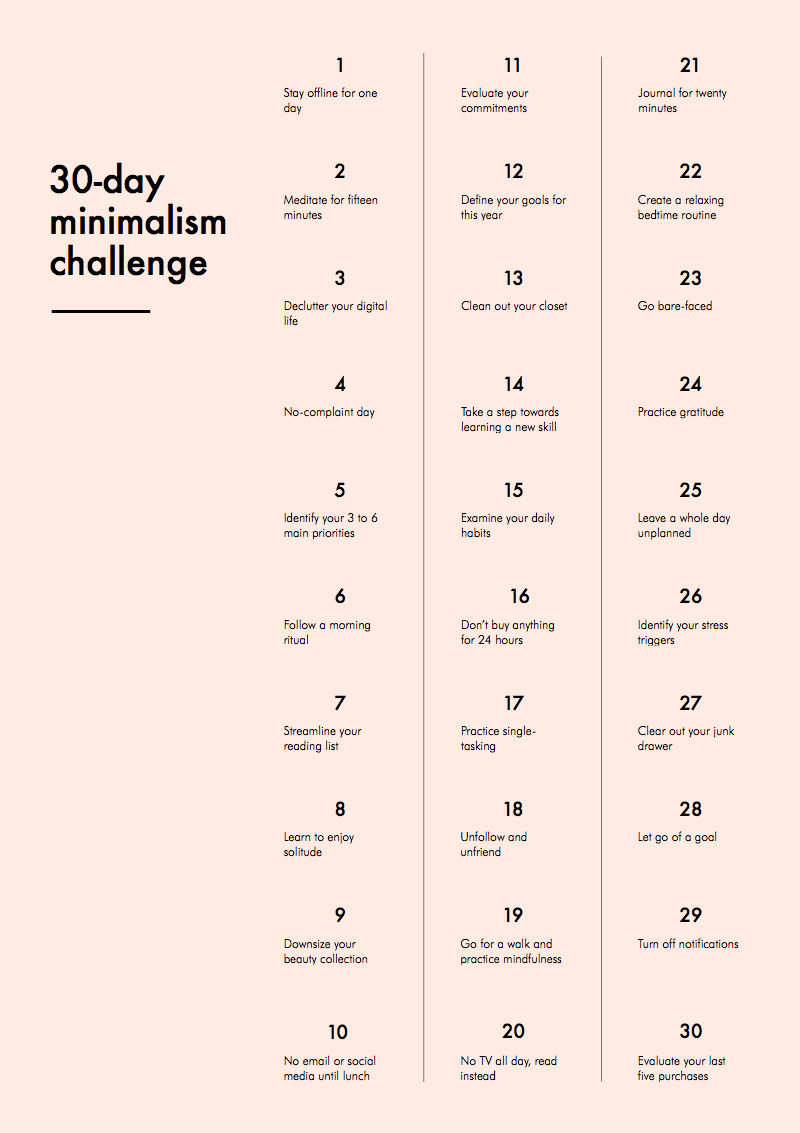 30-Day Minimalism Challenge, order of completion is your choice