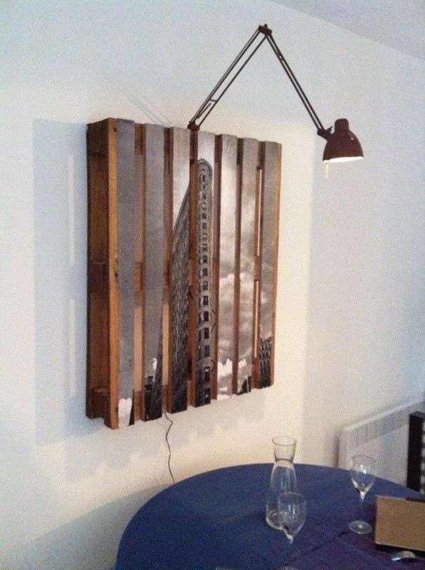 Repusposed pallet as a picture frame with lamp  #Pallet, #Picture