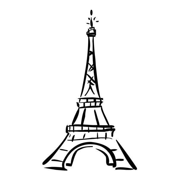 Line Drawing Eiffel Tower : Cute eiffel tower drawing vinyl wall decal ah paris ohh