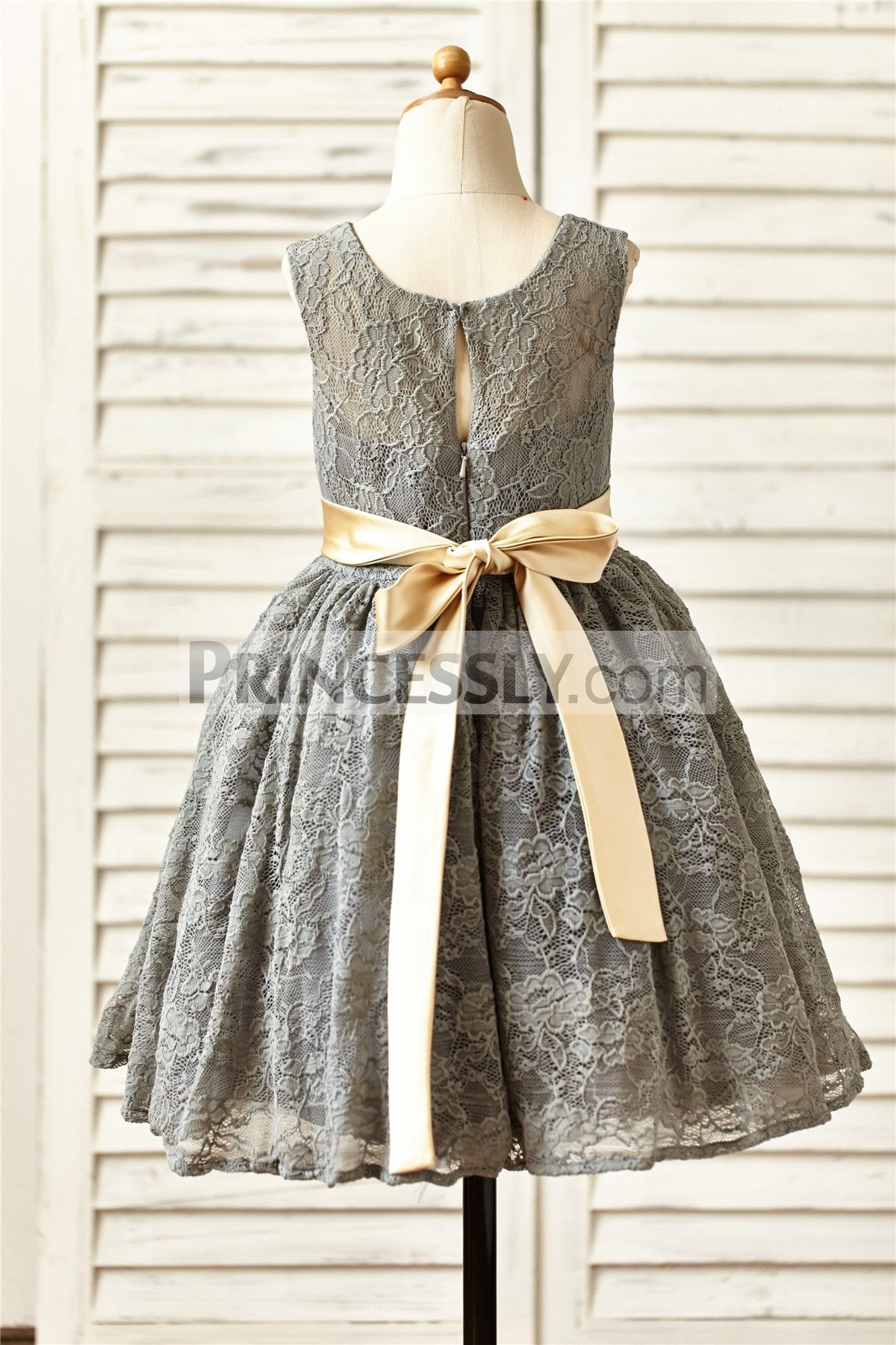 Grey Lace Flower Girl Dress With Champagne Sashflower Little Girl