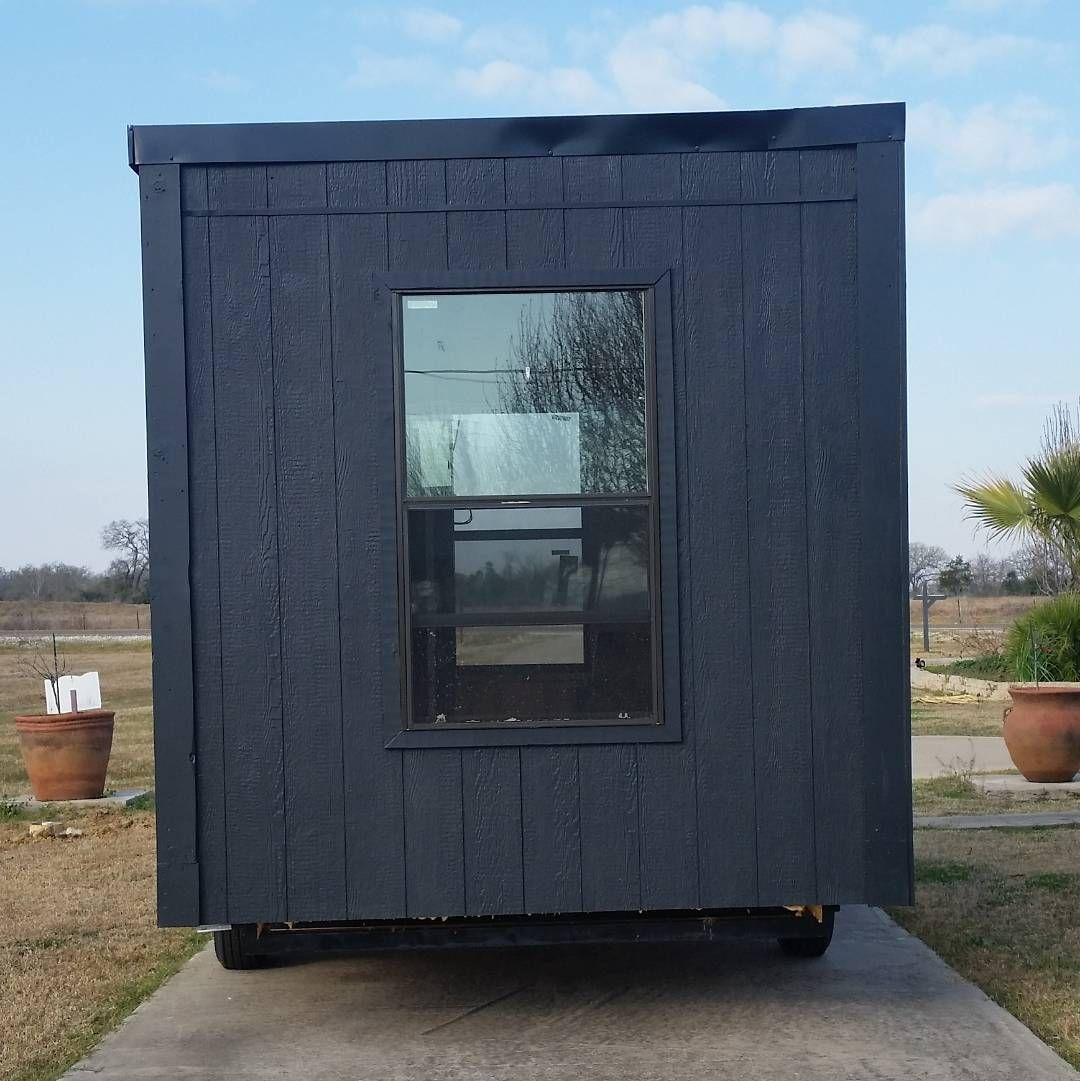 14' rough in tiny home. Black on black on black!  #readytogohome #tinyhomesonwheels #tinyhouse #tinyhousemovement #tinyliving #tinyhomes #tinyhouseonwheels #finishedproduct #finished #smallsimpleliving by infinity_tiny_homes