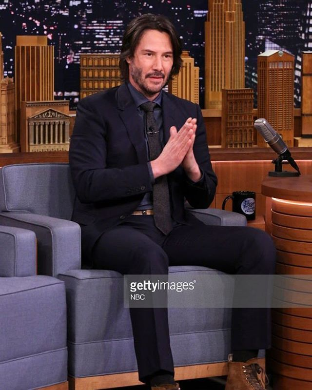 Keanu Reeves during an interview with host Jimmy Fallon on ...