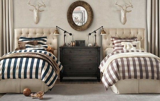 Tufted headboards, buffalo plaid, deer heads, industrial lamps, muted neutrals...LOVE this look