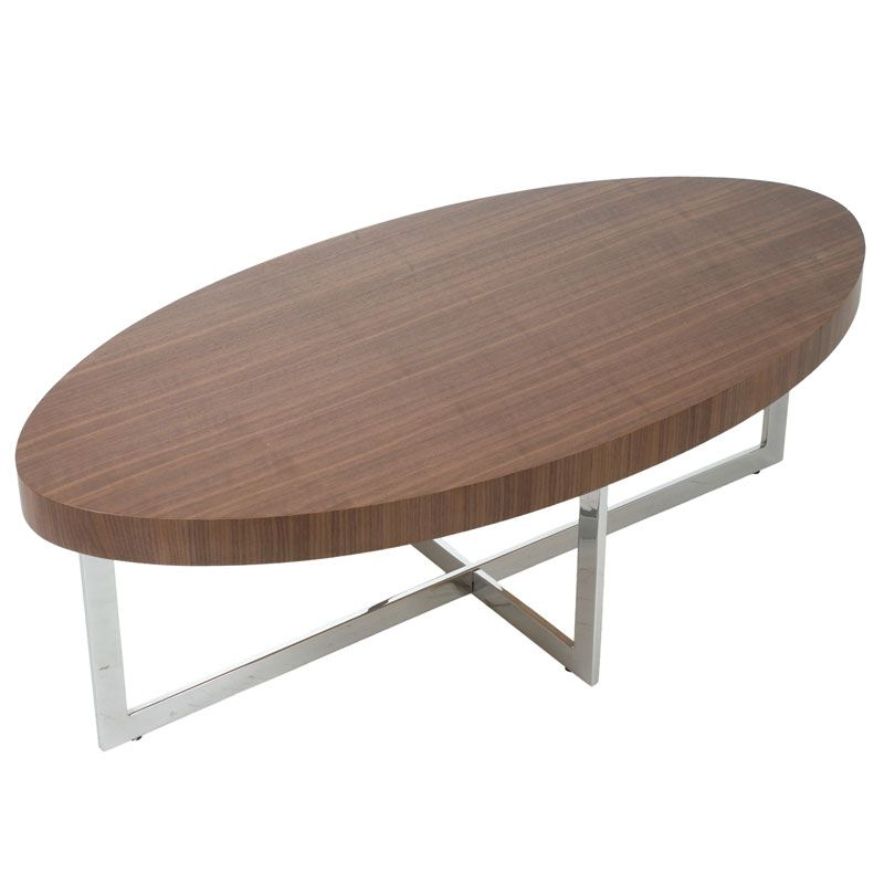 Modern Oval Walnut Coffee Table With Smoked Glass Victor