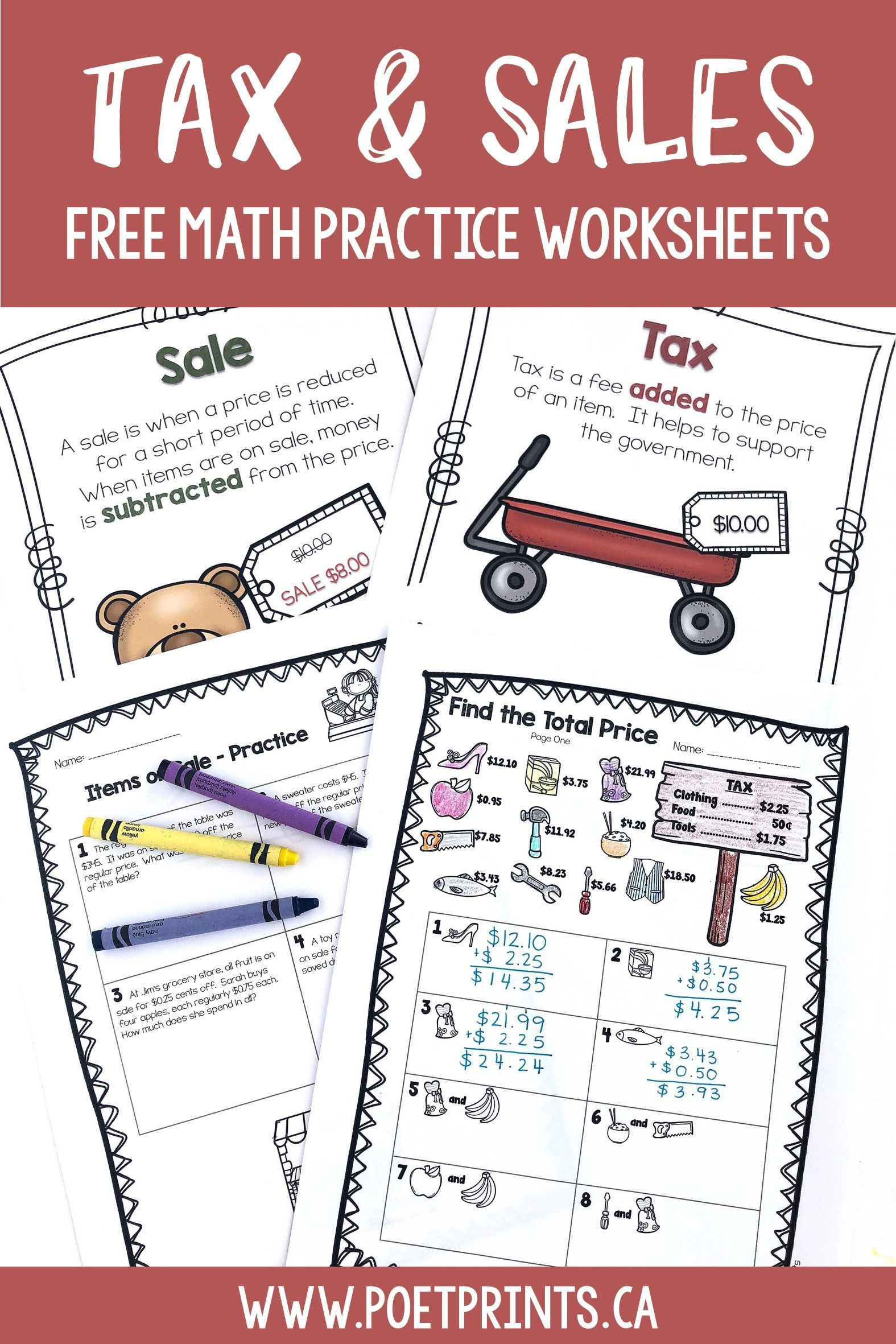 Free Tax And Sales Math Lesson Free Math Practice Money Word Problems Word Problems