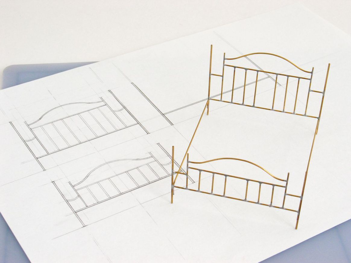 soldered brass bed frame on drawing