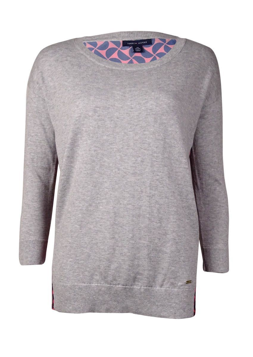 Pull Over Origin Tommy Hilfiger Women S Print Back Knitted Front Sweater