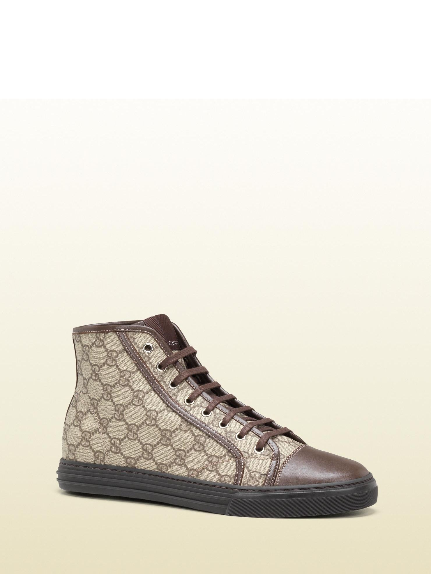 2af3fd0368e5d Gucci - 295383 FCIT0 9795 - hi-top lace-up sneaker - beige ebony GG plus  with brown leather trim Made in Italy rubber sole with embossed gucci  script logo ...