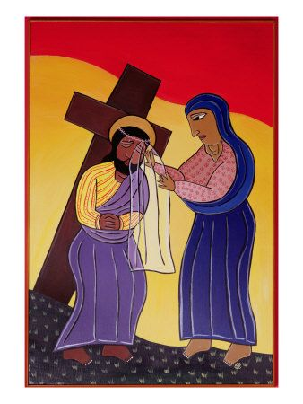Jesus and Veronica, No. 6 in 14 Stations of the Cross Series, 2002 by Laura James