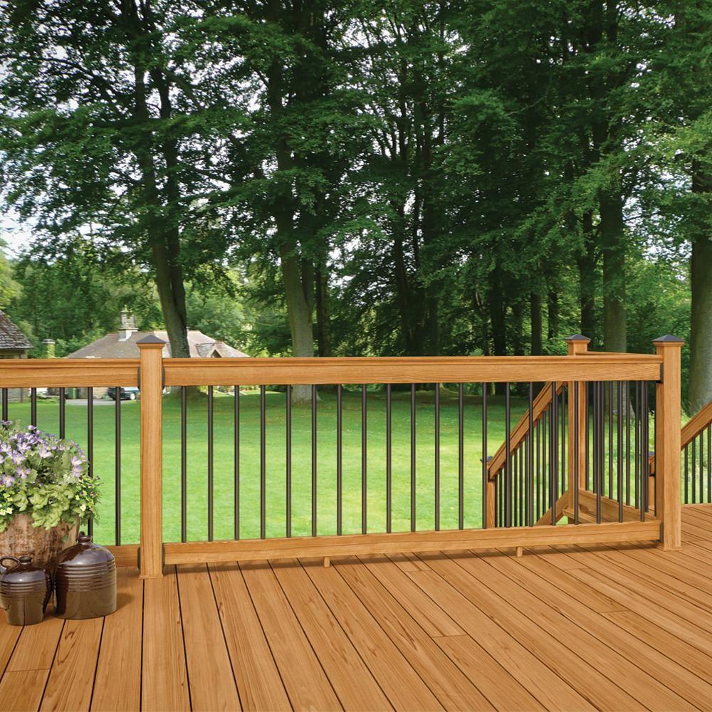 Best Deckorail 8 Ft Aluminum Cedar Tone Southern Yellow Pine 640 x 480
