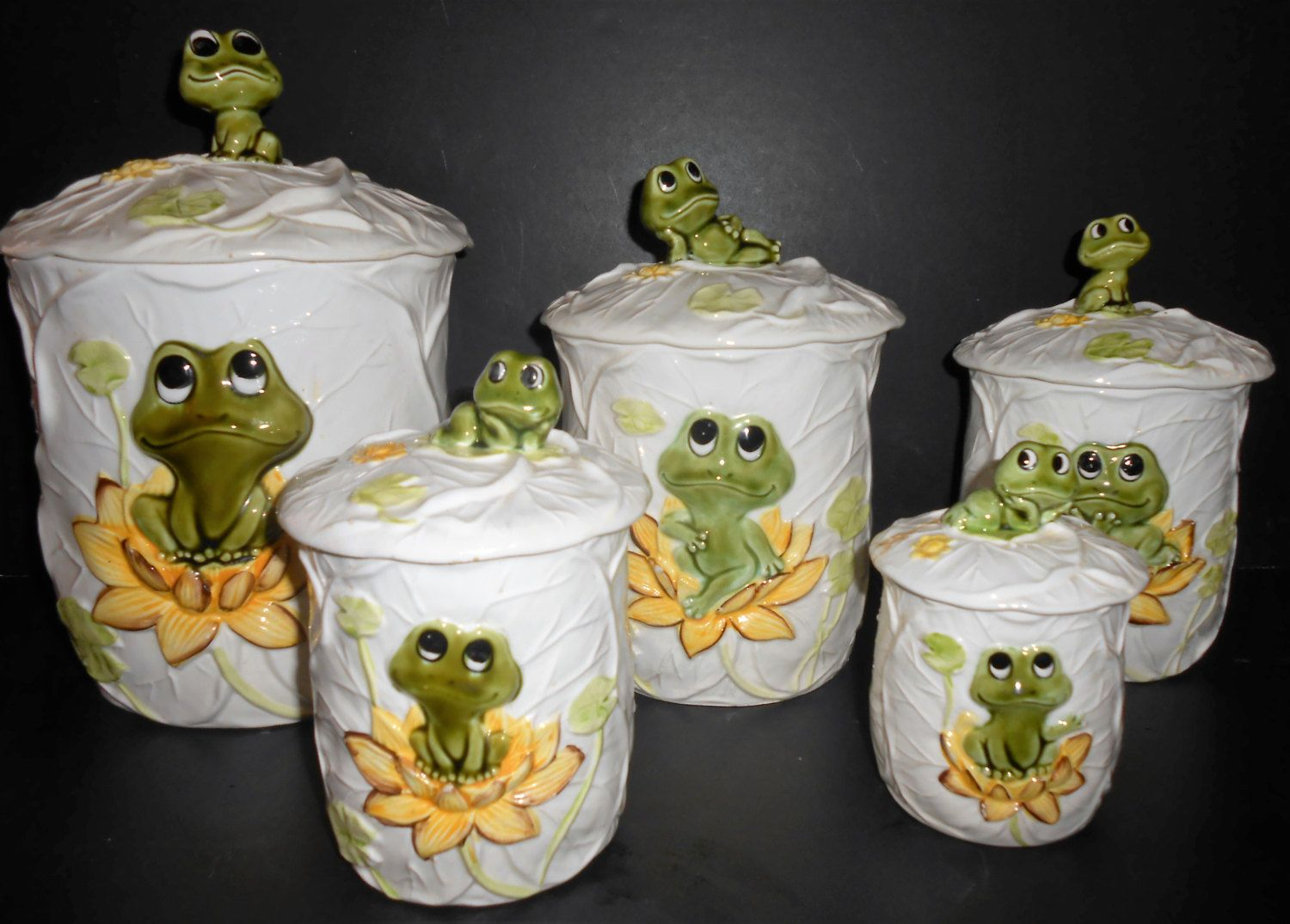 vintage canisters neil the frog canister set set of five dry