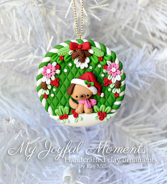 Handcrafted Polymer Clay Christmas Puppy Ornament - Handcrafted Polymer Clay Christmas Puppy Ornament My Polymer Clay