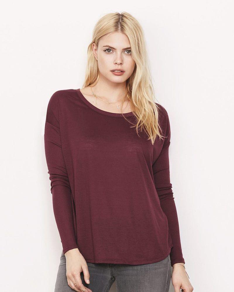 651fc956 Bella+Canvas 8852 - Ladies' Flowy Long Sleeve T-Shirt With 2x1 Rib Sleeves