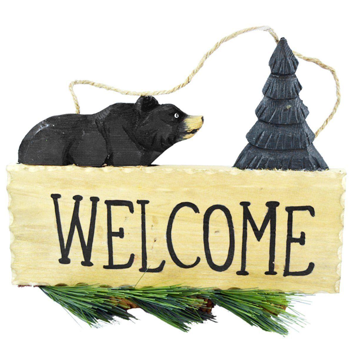 Pine Ridge Black Bear Animal Welcome Sign Home Decor - Wildlife ...