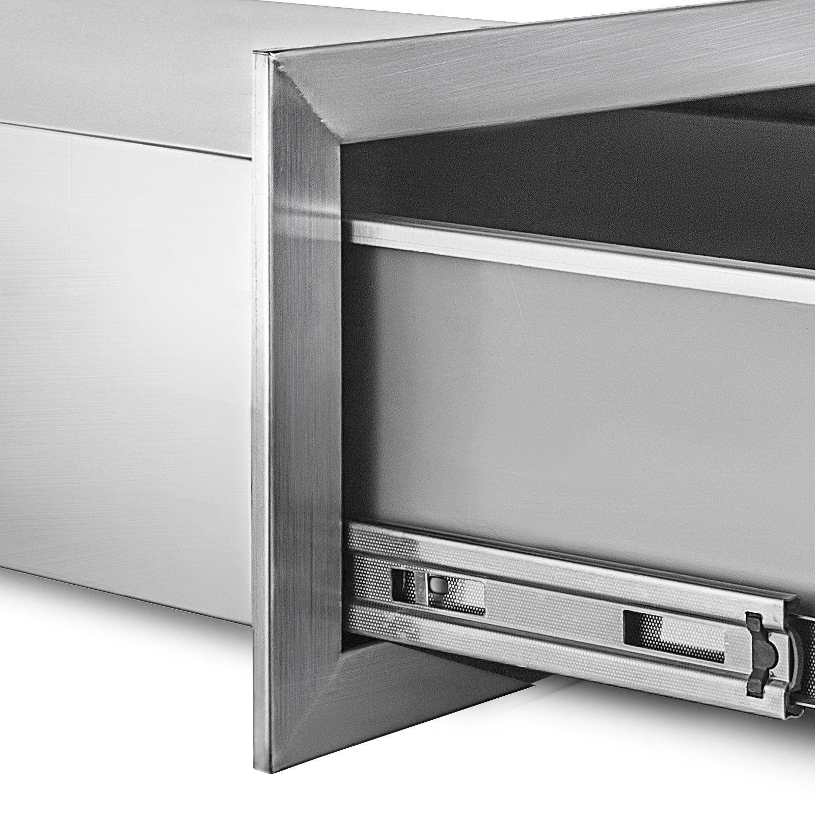 Mophorn Outdoor Kitchen Drawer Stainless Steel Bbq Island Drawer Storage With Chrome Handle Double Access Drawer Island Drawers Storage Drawers Outdoor Storage