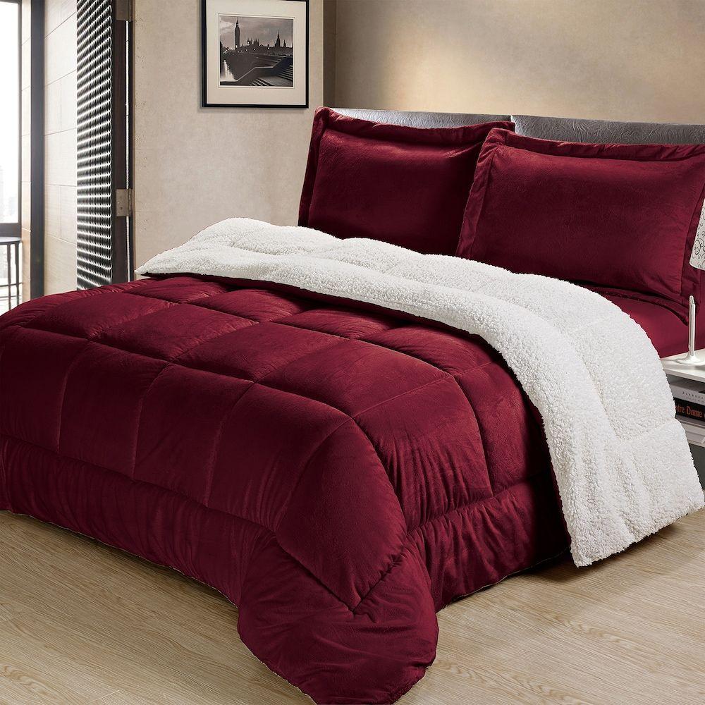 3 Piece Black Burgundy King Size Comforter Set Reversible Fits Cal King Bedding