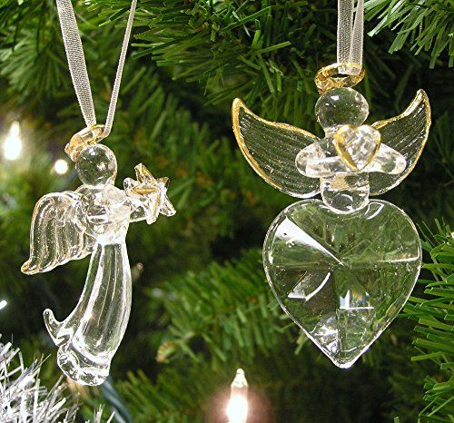 Set Of Clear Crystal Glass Angel Christmas Ornaments Angel Holding Star And Another Holdi Crystal Angel Ornament Christmas Ornaments Pretty Christmas Ornaments