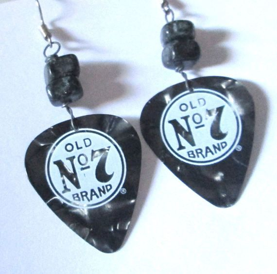 Guitar Pick Pierced Earrings Jack Daniel\'s logo guitar | For Sale at ...