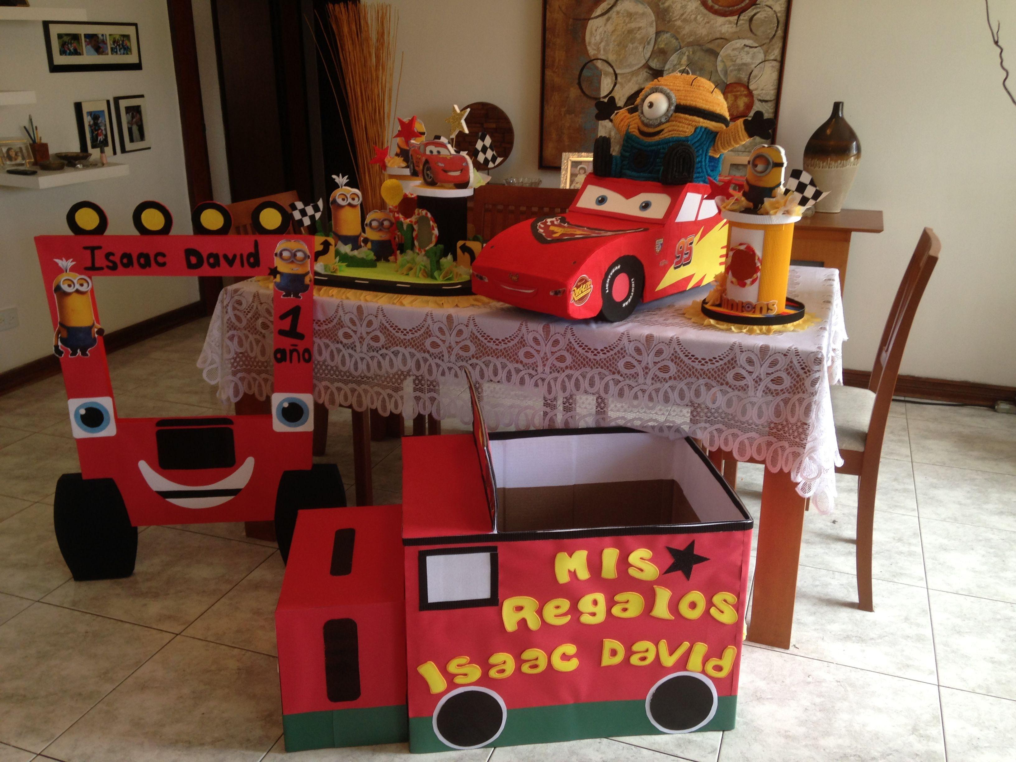 Piñata, marco de foto, caja para regalos y dulceros de cars y ...