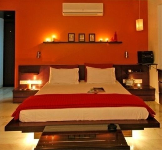 Romantic Bedroom Lighting Ideas With Red Bedspread And Ac Http