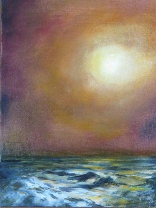 "Sunrise on a Seascape II Oil on canvas 16"" x 12"" www.jmlosson.blogspot.com"